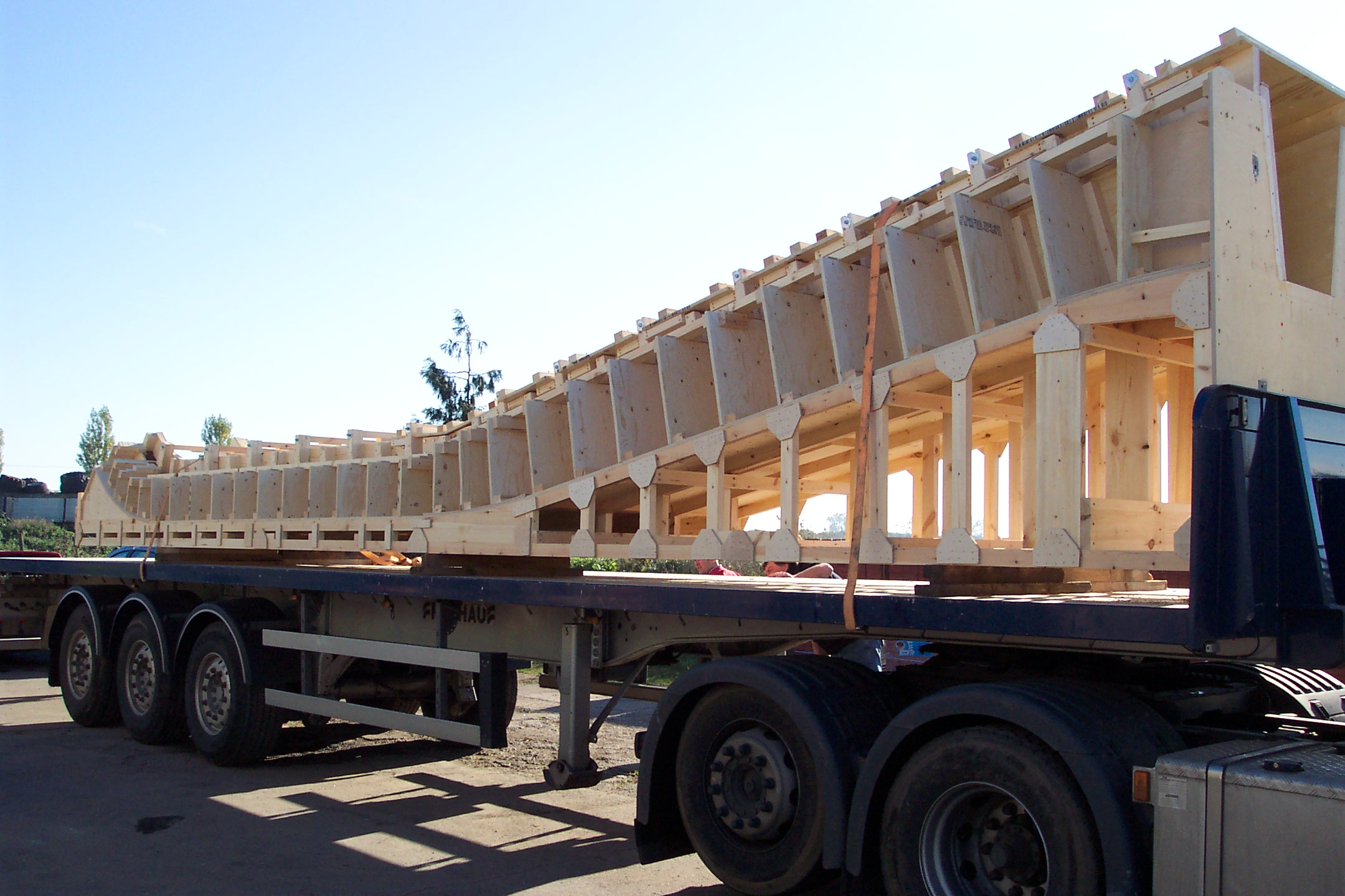 Wooden mould on lorry